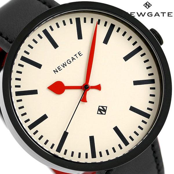 ニューゲート NEWGATE 50mm バーインデックス 革ベルト WWLDRMK006LK メンズ 腕時計 クリーム×ブラック 時計