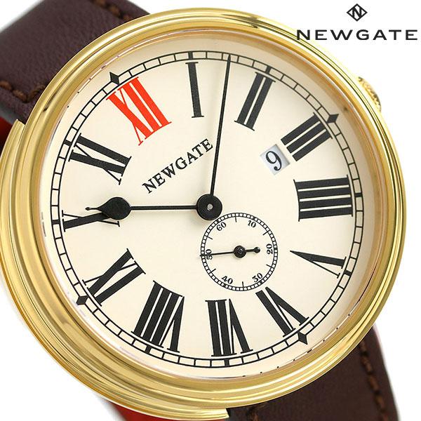 ニューゲート NEWGATE 50mm スモールセコンド 革ベルト WWLSHPVB020LB メンズ 腕時計 クリーム×ブラウン 時計