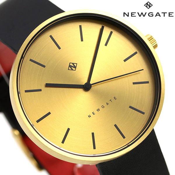 ニューゲート NEWGATE 40mm バーインデックス 革ベルト WWMDLNRB038LK メンズ レディース 腕時計 ゴールド×ブラック 時計