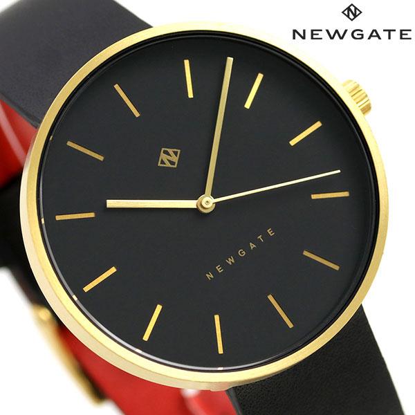 ニューゲート NEWGATE 40mm バーインデックス 革ベルト WWMDLNRB039LK メンズ レディース 腕時計 ブラック 時計