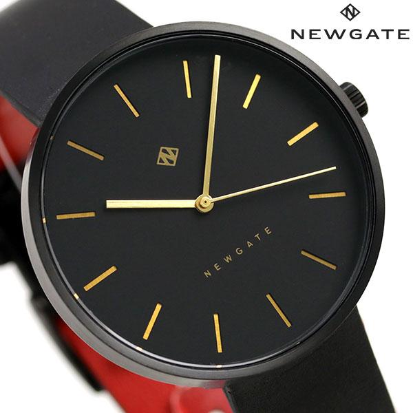 ニューゲート NEWGATE 40mm バーインデックス 革ベルト WWMDLNRK039LK メンズ レディース 腕時計 オールブラック 時計