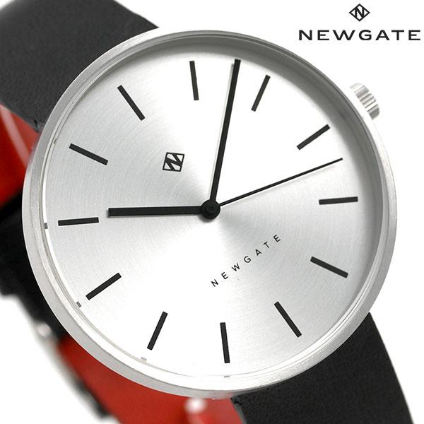 ニューゲート NEWGATE 40mm バーインデックス 革ベルト WWMDLNRS041LK メンズ レディース 腕時計 シルバー×ブラック 時計