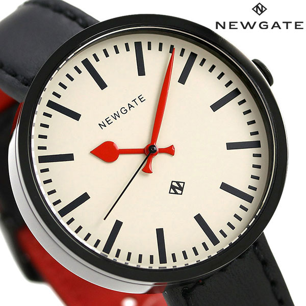 ニューゲート NEWGATE 40mm バーインデックス 革ベルト WWMDRMK006LK メンズ レディース 腕時計 クリーム×ブラック 時計