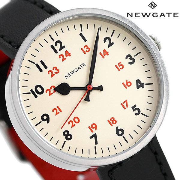 当店なら!ポイント最大31倍!24日23時59分まで ニューゲート NEWGATE 40mm アラビア数字 革ベルト WWMDRMVS005LK メンズ レディース 腕時計 クリーム×ブラック 時計