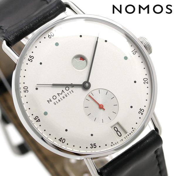 ノモス NOMOS ドイツ製 手巻き 1101 メトロ デイト パワーリザーブ 37mm メンズ 腕時計 MT1D4W2 シルバー×ブラック 時計【あす楽対応】