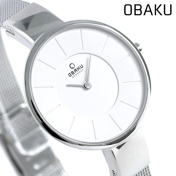 オバク OBAKU レディース 腕時計 32mm ホワイト V149LXCIMC メッシュベルト 時計【あす楽対応】