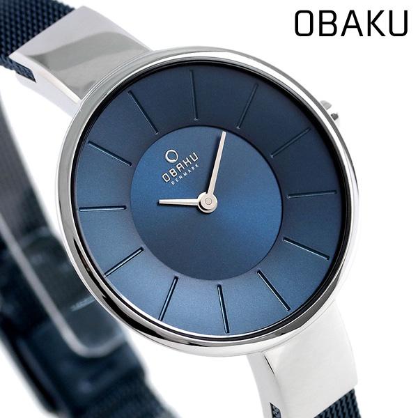 オバク OBAKU レディース 腕時計 32mm ネイビー V149LXCLML メッシュベルト 時計【あす楽対応】