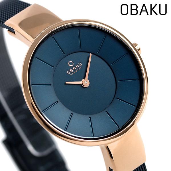 オバク OBAKU レディース 腕時計 32mm ネイビー V149LXVLML メッシュベルト 時計