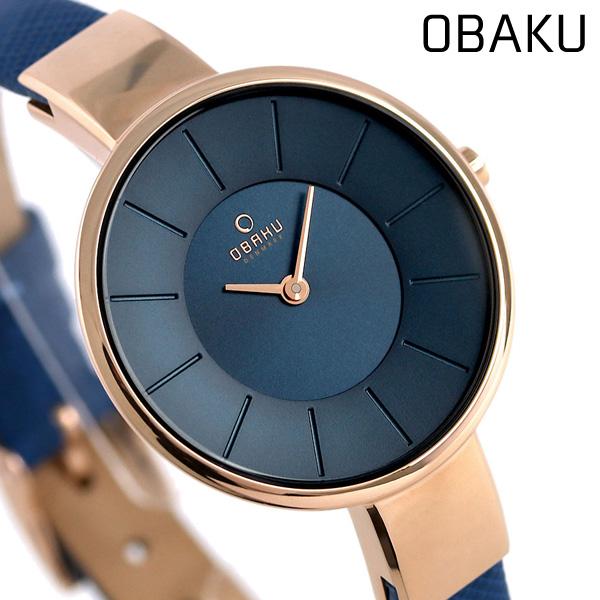 オバク OBAKU レディース 腕時計 32mm ネイビー V149LXVLRA 革ベルト 時計【あす楽対応】