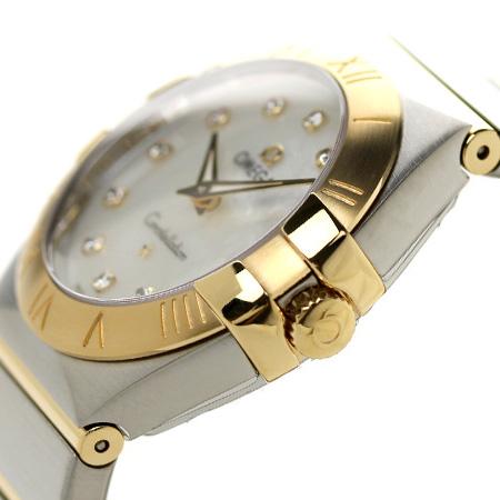 オメガコンステレーション 27MM Lady's watch 123.20.27.60.55.002 OMEGA white shell X yellow gold