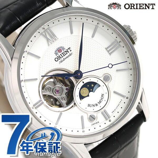 オリエント 腕時計 メンズ ORIENT サン&ムーン 42mm 機械式 日本製 RN-AS0003S 革ベルト