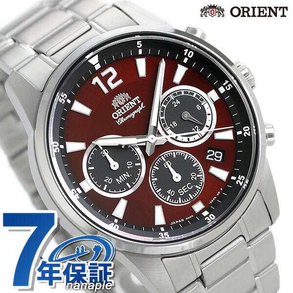 オリエント 腕時計 ORIENT スポーティー クロノグラフ 42mm 日本製 RN-KV0003R レッド 時計