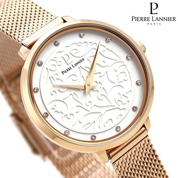 ピエールラニエ エオリア 33mm フランス製 レディース 腕時計 P039L908 Pierre Lannier シルバー×ピンクゴールド