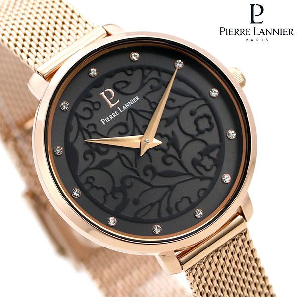 店内ポイント最大43倍!16日1時59分まで! ピエールラニエ エオリア 33mm フランス製 レディース 腕時計 P039L938 Pierre Lannier ブラック×ピンクゴールド