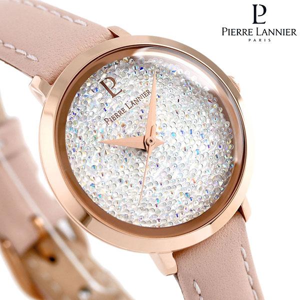 ピエールラニエ プティ ルナ クリスタル レディース 腕時計 P105J905 Pierre Lannier 革ベルト 時計
