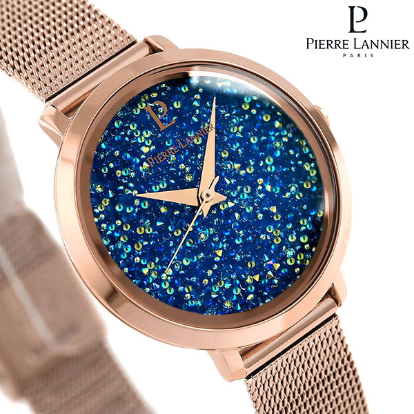 ピエールラニエ プティ ルナ クリスタル レディース 腕時計 P105J968 Pierre Lannier メッシュベルト 時計