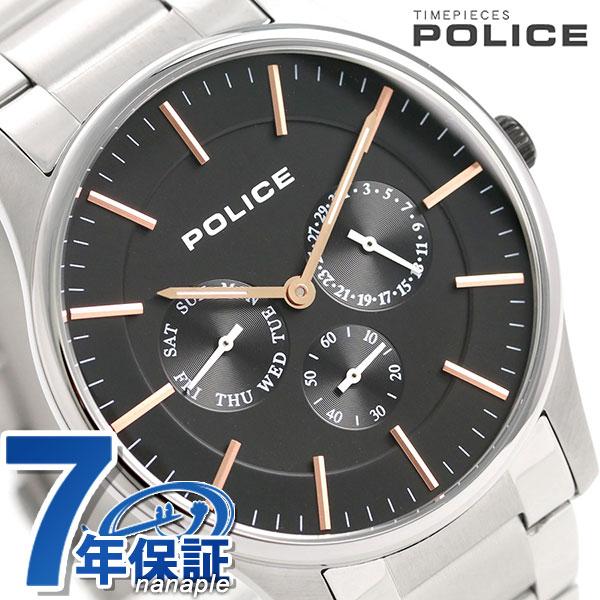 ポリス 時計 コーテシー 42mm クオーツ メンズ 腕時計 14701JS/02M POLICE ブラック