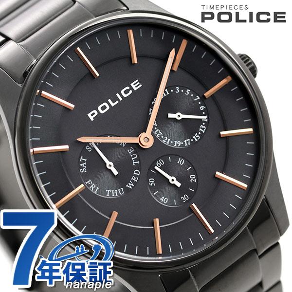 ポリス 時計 コーテシー 42mm クオーツ メンズ 腕時計 14701JSU/13M POLICE ブラック×ガンメタル