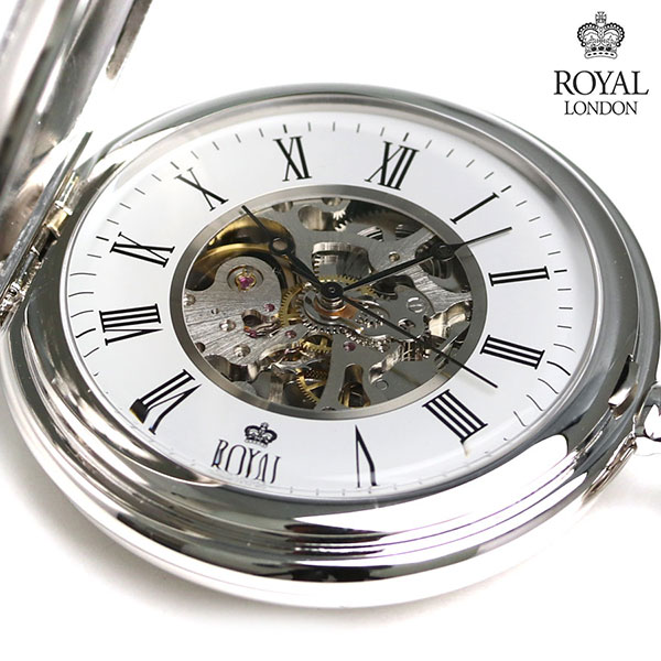 ロイヤルロンドン 懐中時計 ダブルハンターケース スケルトン 手巻き 90005-01 ROYAL LONDON シルバー 時計