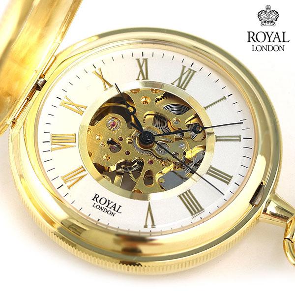 ロイヤルロンドン 懐中時計 ダブルハンターケース スケルトン 手巻き 90029-02 ROYAL LONDON ゴールド 時計