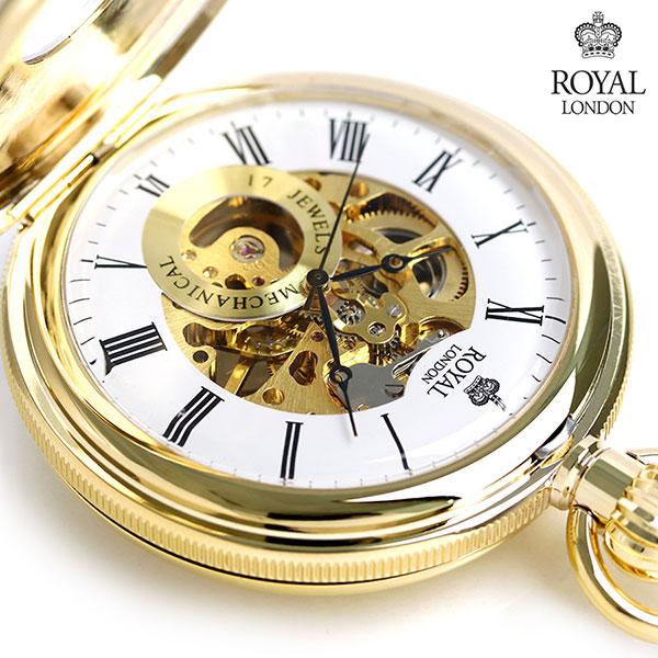 ロイヤルロンドン 懐中時計 ダブルハンターケース スケルトン 手巻き 90048-02 ROYAL LONDON ゴールド 時計