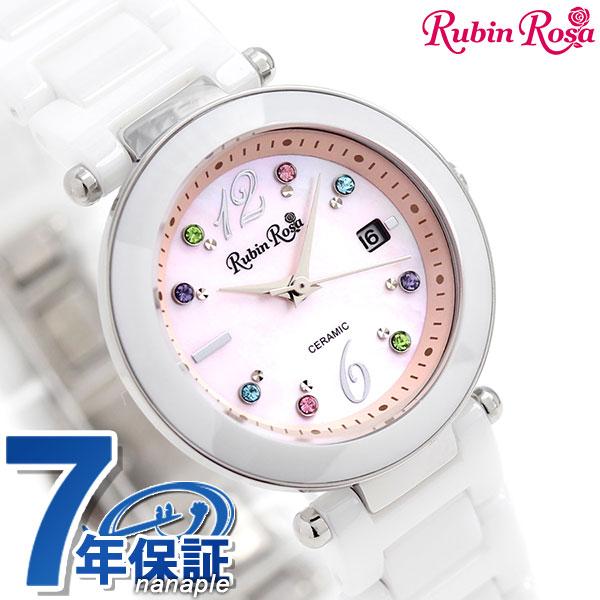 ルビンローザ Rubin Rosa ソーラー レディース 腕時計 R307SPKMOP R307 ピンクシェル×ホワイト 時計