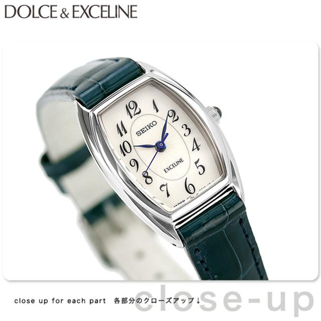 c1f3669d3075 セイコードルチェ&エクセリーヌトノー型レディースSWDB063SEIKODOLCE&EXCELINE腕時計ホワイト×ネイビー革ベルト