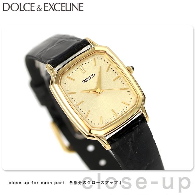 セイコー ドルチェ&エクセリーヌ レディース SWDL164 SEIKO DOLCE&EXCELINE 腕時計 ゴールド×ブラック 革ベルト 時計