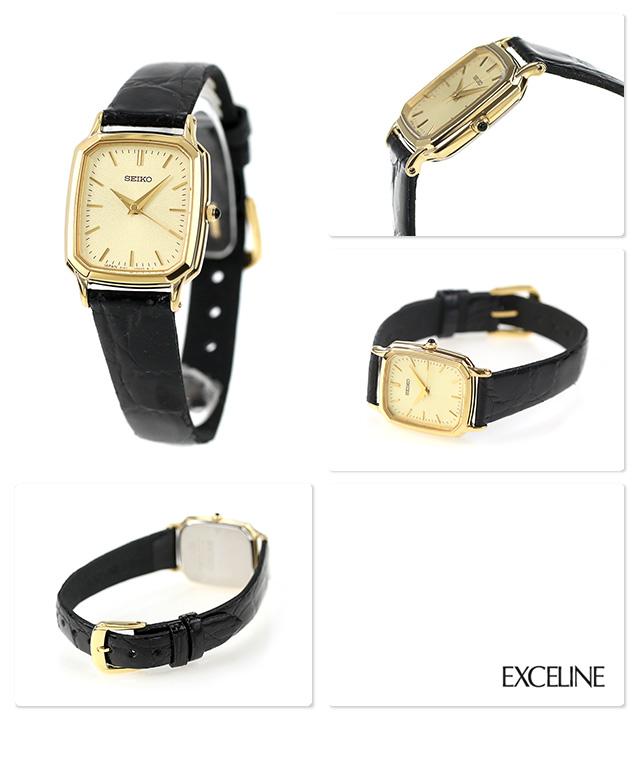 size 40 d5e4b 15597 セイコー ドルチェ&エクセリーヌ レディース SWDL164 SEIKO DOLCE&EXCELINE 腕時計 ゴールド×ブラック 革ベルト  時計|腕時計のななぷれ