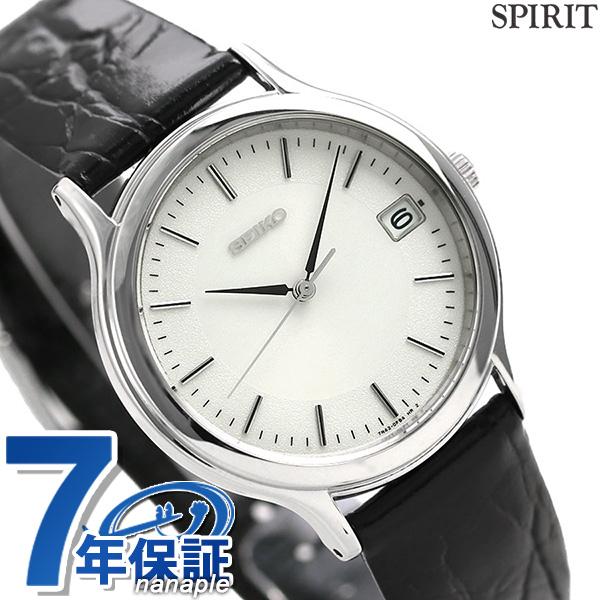 セイコー スピリット メンズ 腕時計 SBTC011 SEIKO SPIRIT ホワイト×ブラック レザーベルト 時計【あす楽対応】
