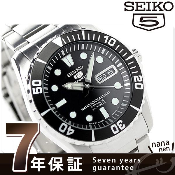 精工返销进口海外型号5体育日本制造SNZF17J1(SNZF17JC)SEIKO自动卷人手表黑色