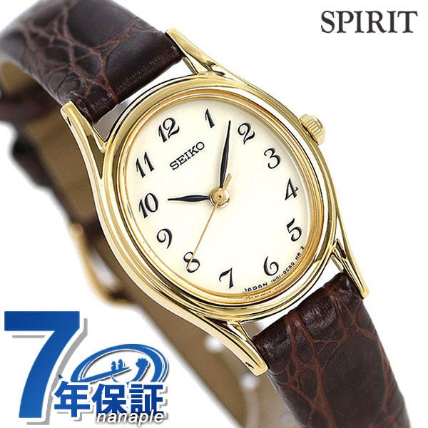 セイコー スピリット クオーツ レディース 腕時計 SSDA008 SEIKO SPIRIT アイボリー×ブラウン レザーベルト 時計【あす楽対応】