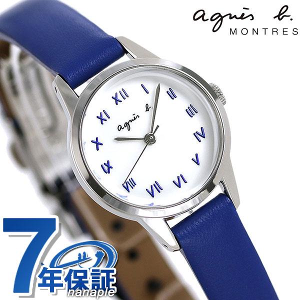 店内ポイント最大43倍!16日1時59分まで! アニエスベー 時計 レディース FCSK951 agnes b. マルチェロ ホワイト×ブルー 革ベルト 腕時計【あす楽対応】