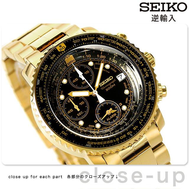 セイコー 逆輸入 海外モデル クオーツ クロノグラフ SNA414P1(SNA414PC) SEIKO 腕時計 ブラック×ゴールド 時計
