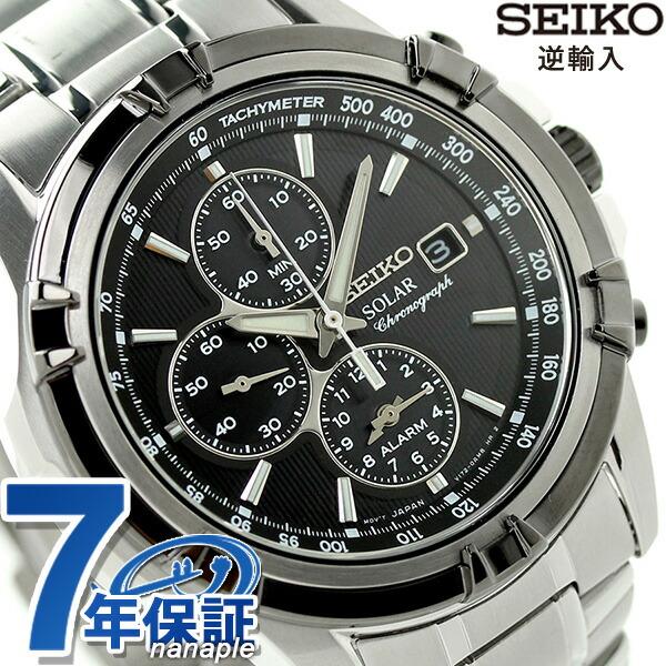 セイコー 逆輸入 海外モデル ソーラー クロノグラフ SSC147P1(SSC147PC) SEIKO 腕時計 ブラック 時計