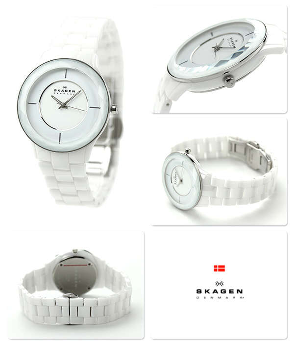 Scar gene ceramic Lady's watch quartz SKW2066 SKAGEN white