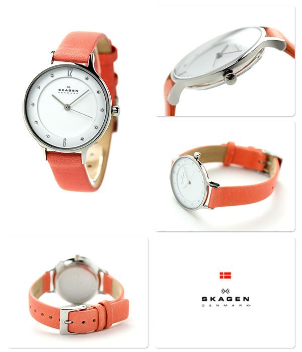 Scar gene Lady's watch quartz SKW2144 SKAGEN white X orange leather belt
