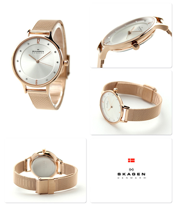 Scar gene Lady's watch quartz SKW2151 SKAGEN silver X pink gold mesh belt