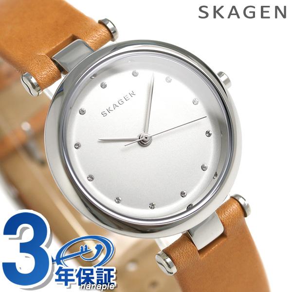 スカーゲン レディース ターニャ クオーツ 腕時計 SKW2455 SKAGEN シルバー × ライトブラウン 時計