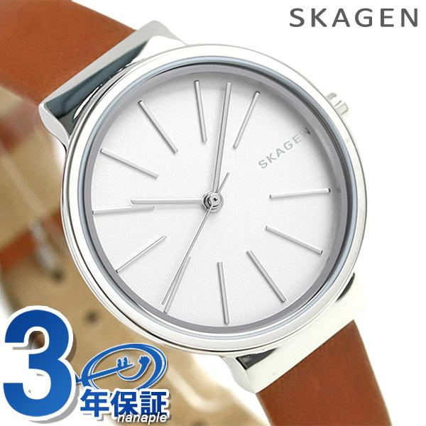スカーゲン レディース アンカー 30mm クオーツ 腕時計 SKW2479 SKAGEN シルバー × ブラウン 時計【あす楽対応】