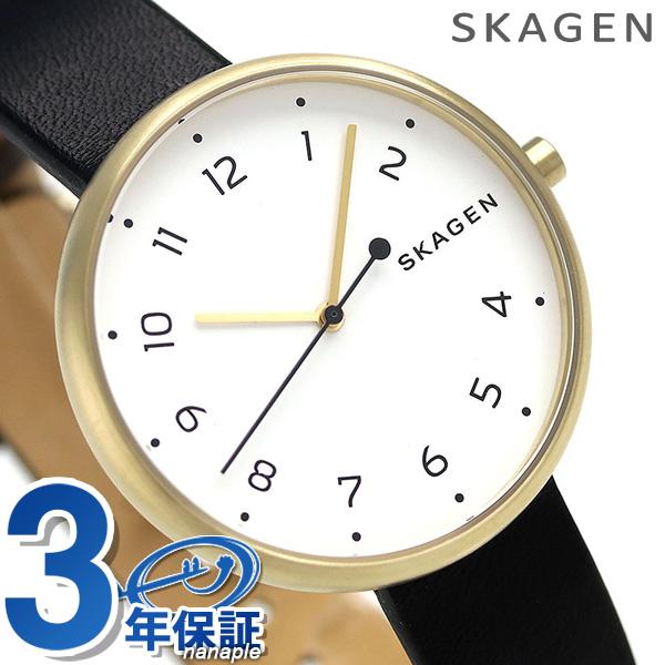 スカーゲン 時計 レディース シグネチャー 36mm 革ベルト SKW2626 ホワイト × ブラック SKAGEN 腕時計【あす楽対応】