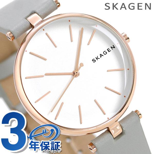 スカーゲン 時計 レディース シグネチャー 36mm 革ベルト SKW2710 シルバー×グレー SKAGEN 腕時計【あす楽対応】