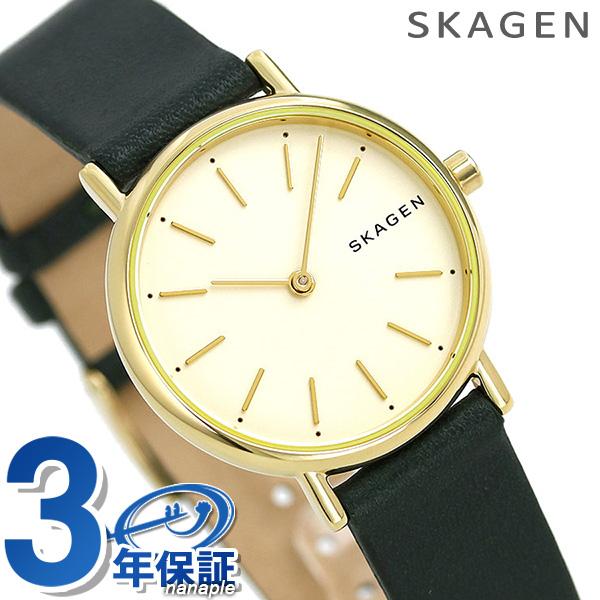 スカーゲン レディース 時計 革ベルト ゴールド×グリーン SKW2727 SKAGEN 腕時計 シグネチャー【あす楽対応】