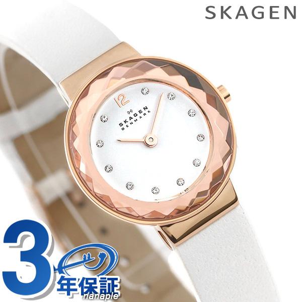 スカーゲン 時計 レディース レオノラ 25mm SKW2769 SKAGEN 腕時計 ホワイト 革ベルト【あす楽対応】