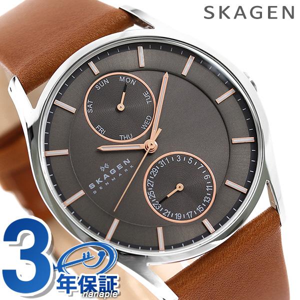 スカーゲン メンズ ホルスト マルチファンクション 腕時計 SKW6086 SKAGEN クオーツ グレー×ブラウン 時計【あす楽対応】