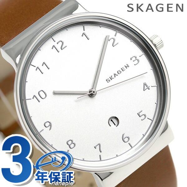 スカーゲン 時計 メンズ アンカー クオーツ SKW6292 ホワイト×ブラウン SKAGEN 腕時計