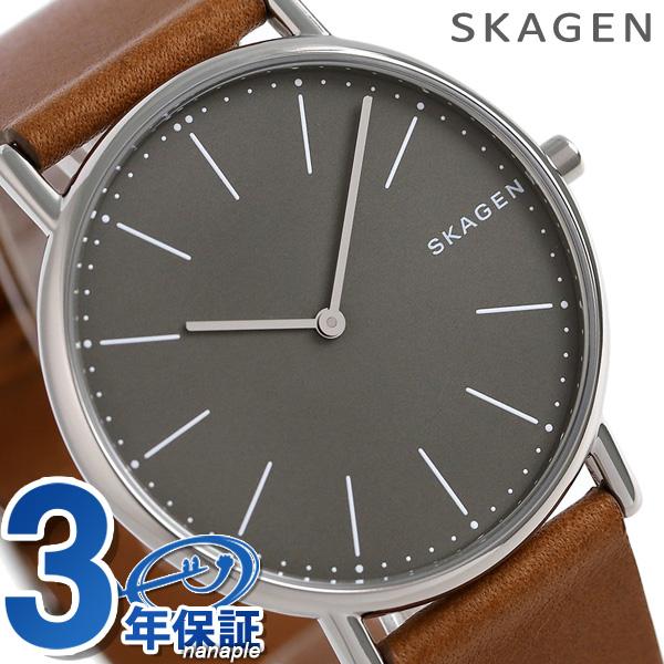 スカーゲン メンズ シグネチャー 40mm クオーツ 腕時計 SKW6429 SKAGEN グレー×ブラウン 時計【あす楽対応】