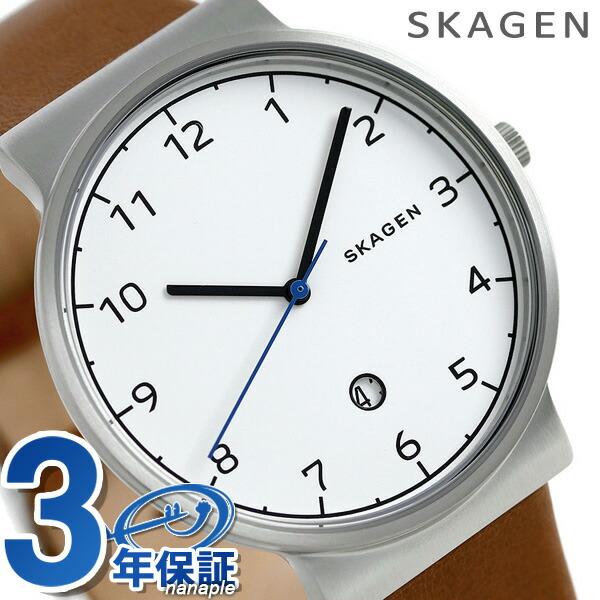 スカーゲン 時計 メンズ アンカー 40mm クオーツ SKW6433 ホワイト×ブラウン SKAGEN 腕時計【あす楽対応】