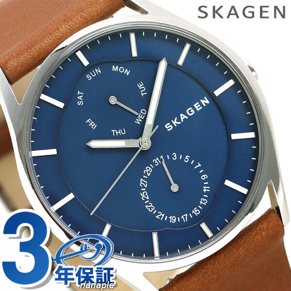 店内ポイント最大43倍!16日1時59分まで! スカーゲン 時計 ホルスト 40mm メンズ SKW6449 ブルー×ブラウン SKAGEN 腕時計【あす楽対応】