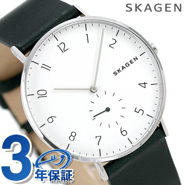 スカーゲン 時計 アーレン スモールセコンド メンズ SKW6466 ホワイト×グリーンSKAGEN 腕時計【あす楽対応】